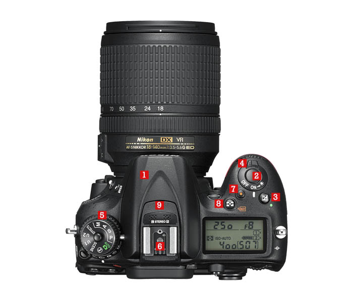 Características de la cámara Nikon D7200 Arriba