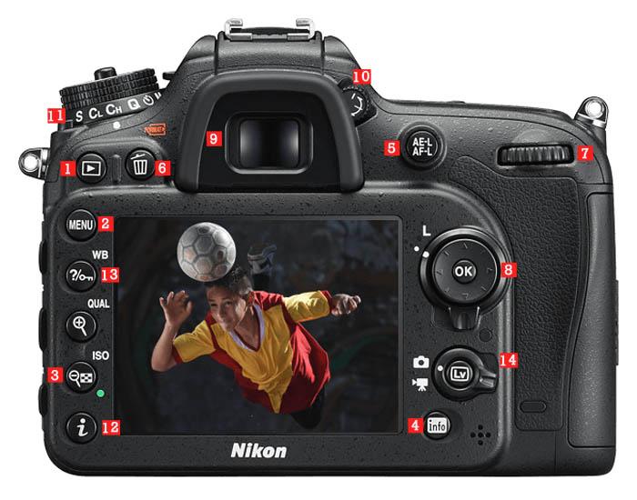 Características de la cámara Nikon D7200 Atrás